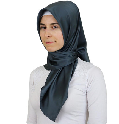 Aker Satin Square Hijab Scarf 6385 973 Steel Grey