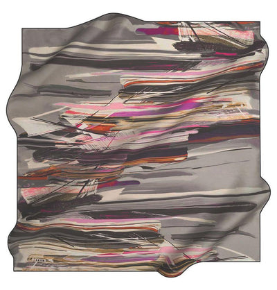 Aker Silk Cotton Patterned Square Scarf #7814-414