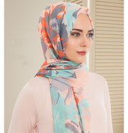 Armine Gold Cotton Hijab Shawl Floral 077-018