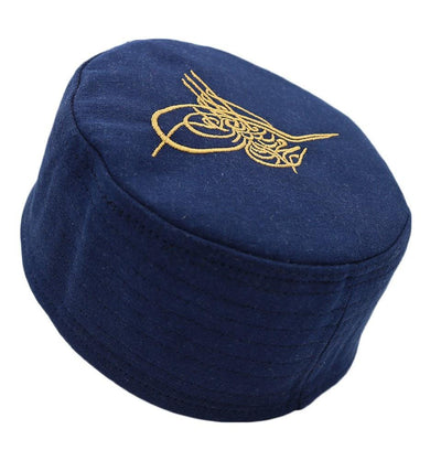 Islamic Men's Structured Kufi Hat- Ottoman Tughra Blue