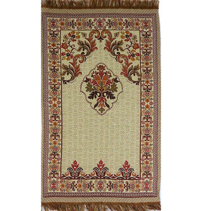 Shimmery Thin Floral Islamic Prayer Mat - Red/Orange