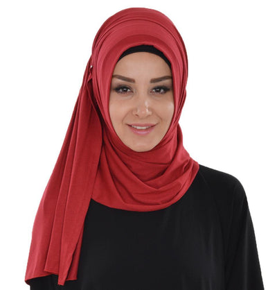 Practical Instant Jersey Hijab Shawl Red