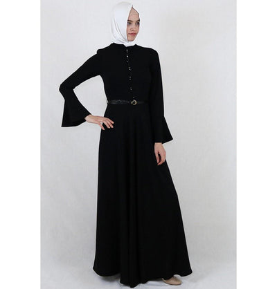 Puane Dress Puane Formal Dress with Bell Sleeves 4809 Black - Modefa