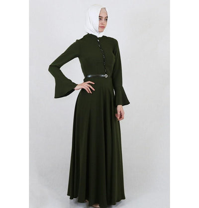 Puane Dress Puane Formal Dress with Bell Sleeves 4809 Green - Modefa