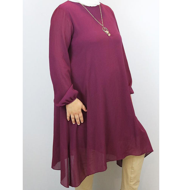 Puane Modest Plus Size Tunic 9006 Magenta