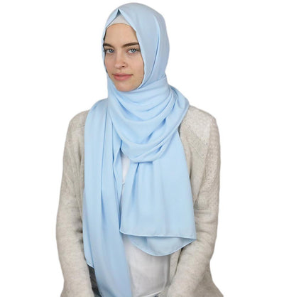 Sedef Solid Winter Chiffon Hijab Shawl Baby Blue