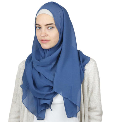 Sedef Textured Micro Chiffon Hijab Shawl Denim Blue