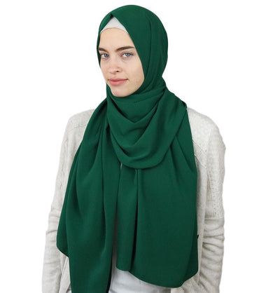 Sedef Solid Winter Chiffon Hijab Shawl Green