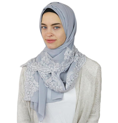 Lux Lace Trim Chiffon Hijab Shawl Light Grey