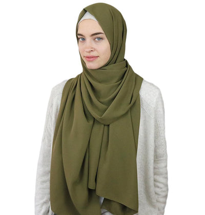 Sedef Solid Winter Chiffon Hijab Shawl Olive Green