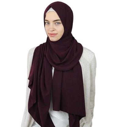 Sedef Solid Winter Chiffon Hijab Shawl Plum