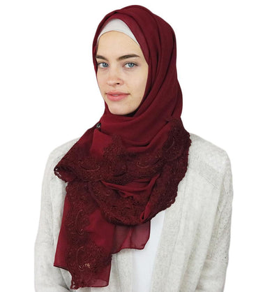 Lux Lace Trim Chiffon Hijab Shawl Red