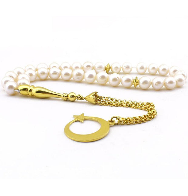 Luxury Islamic Tesbih Round Pearl with Sterling Silver Crescent Moon 33 Tassel Count