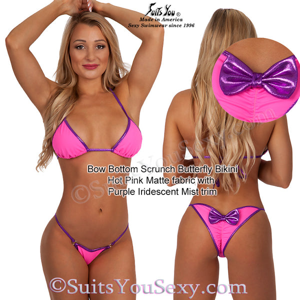 Bow bottom swimsuit, pink with purple trim