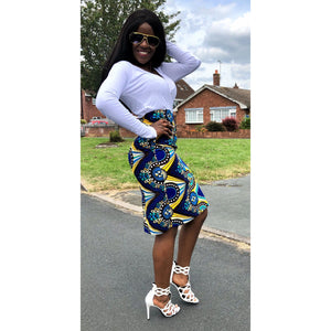 African Fashion Allure Blue and Yellow High Waist Pencil African Print Skirt