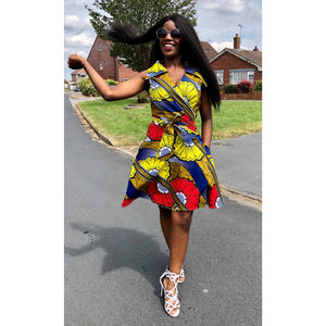 African Fashion Allure Khakhi Floral African Print Dress