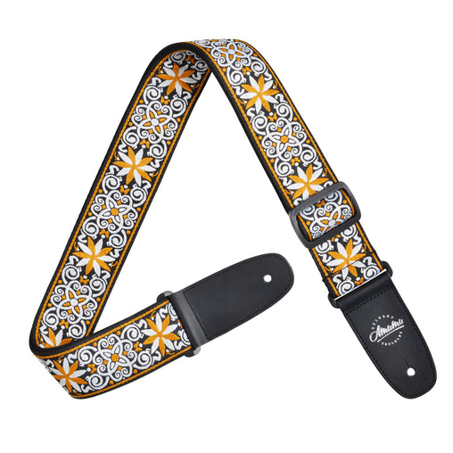 Amumu Hootenanny Embroidery Guitar Strap Yellow Cotton