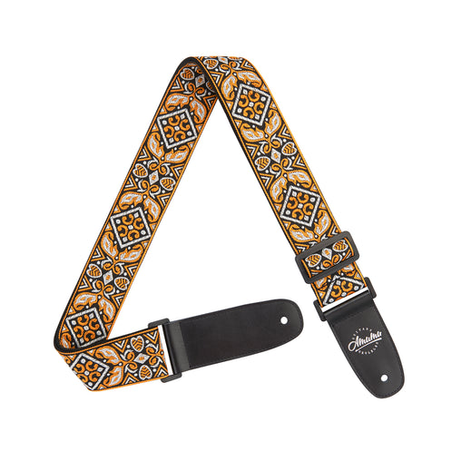 Amumu Vintage Embroidery Guitar Strap Orange Cotton