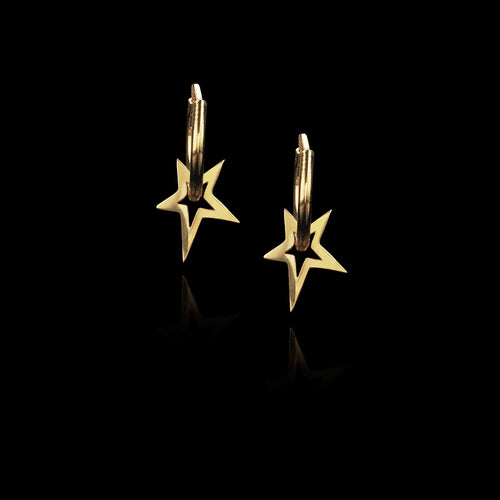 fairtrade gold shooting star hoop earrings by jewellery designer catherine zoraida