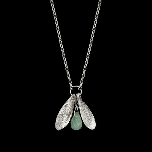 Silver Double Leaf and Pearl Pendant