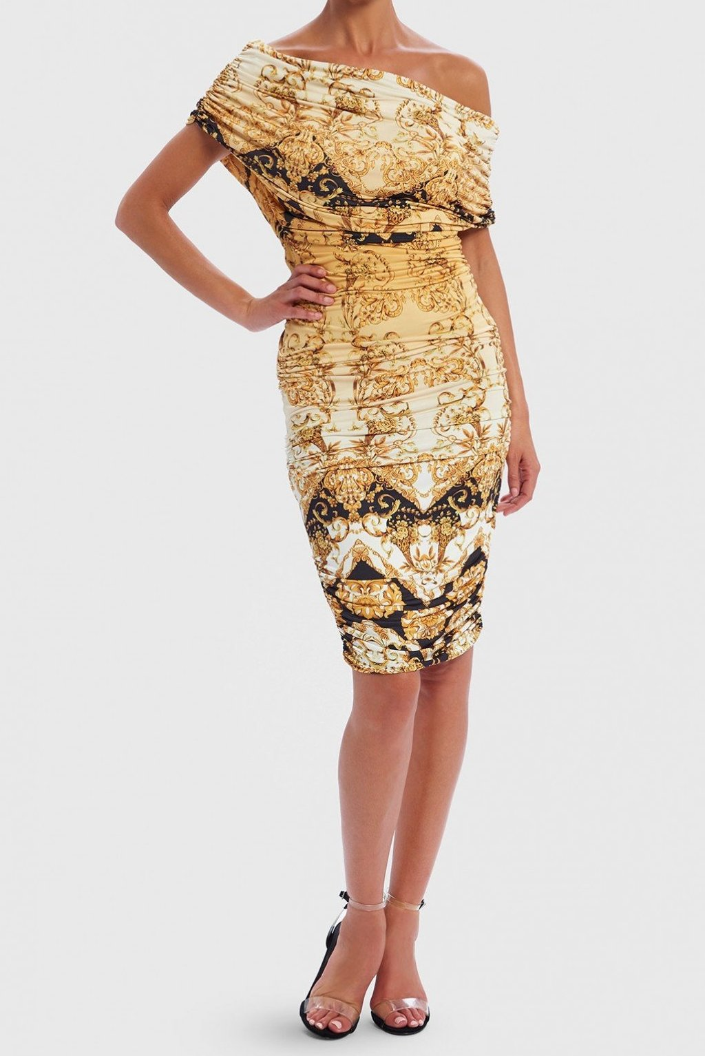 FOREVER UNIQUE STORMI BAROQUE PRINT ONE-SHOULDER BODYCON MIDI DRESS - GOLD/BLACK