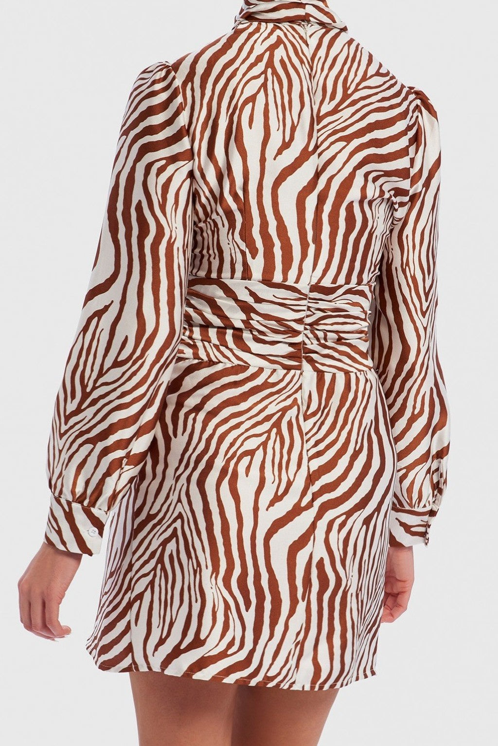 U COLLECTION ZEBRA PRINT PUSSYBOW SATIN MINI DRESS - WHITE/TAN