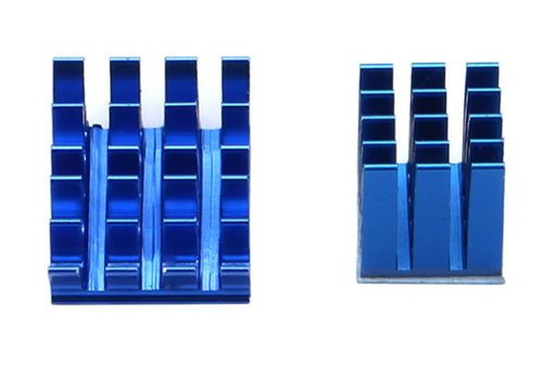 1 Set of 2pcs Blue Raspberry Pi Heatsinks Cooler Aluminum With Adhesive Heat Sink Set Kit For Cooling Raspberry Pi 3 / 2 Model B