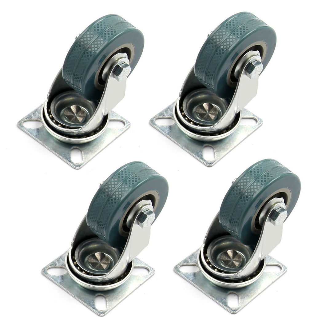 4 x Heavy Duty 50 x 17mm Rubber Swivel Castor Wheels