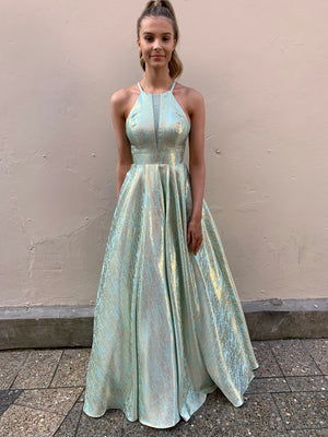 Bell gown - Tiffany blue/silver
