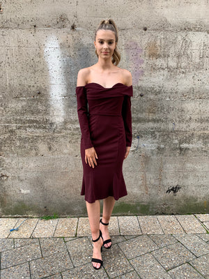 Louise fluted dress by Lumier - maroon