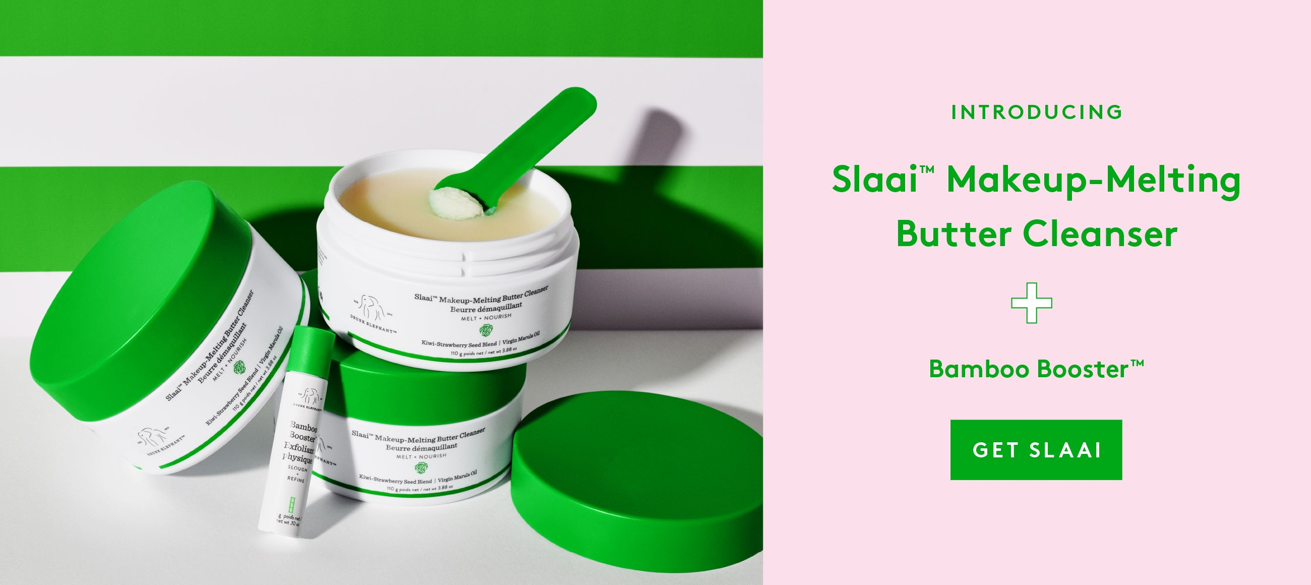 Slaai Makeup Melting Butter Cleanser is a cleansing balm that removes all traces of dirt, makeup and grime from the day. Use the Bamboo Booster for personalized physical exfoliation
