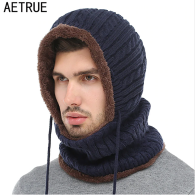 Cold-Proof Warm Hooded Wool Neck Cap