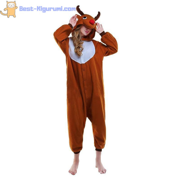 Adult Reindeer Onesie Pajamas | Kigurumis for Women & Men - Animal Christmas Fleece