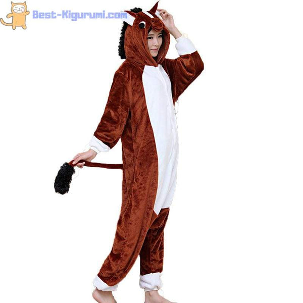 Horse Onesie for Adults | Kigurumi Pajamas for Men & Women - flannel flannel animal
