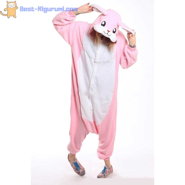 Pink Bunny Onesie for Adults | Kigurumi for Women & Men - Animal Bunny Rabbit easter Fleece