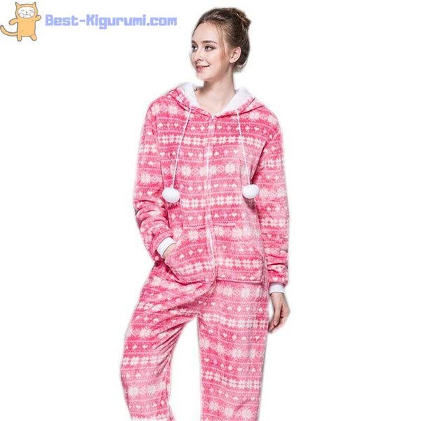Pink Christmas Onesie Pajamas for Adults