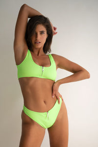 Ribbed Zip Top in Lime