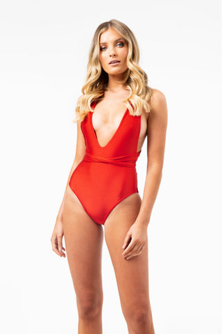 Lilah Wrap Around Reversible One Piece in Red