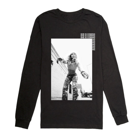 She Is Coming Long Sleeve Photo Tee Black & Digital Download-MILEY CYRUS