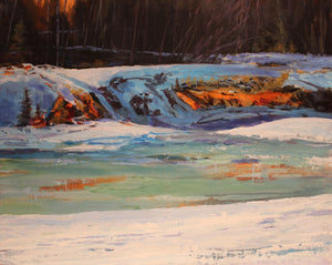 "Bragg Creek Thaw, 16 x 20"" Acrylic on board"