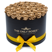 Load image into Gallery viewer, Gold Preserved Roses | Large Round Black Huggy Rose Box - The Only Roses