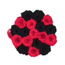 Load image into Gallery viewer, Black & Red Preserved Roses | Small Round Black Huggy Rose Box - The Only Roses