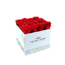 Load image into Gallery viewer, Red Preserved Roses | Square White Huggy Rose Box - The Only Roses