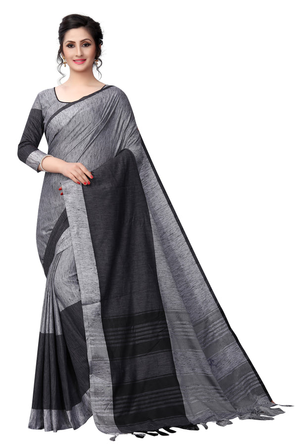 Engrossing Gorgeous Black Pure Linen Designer Saree