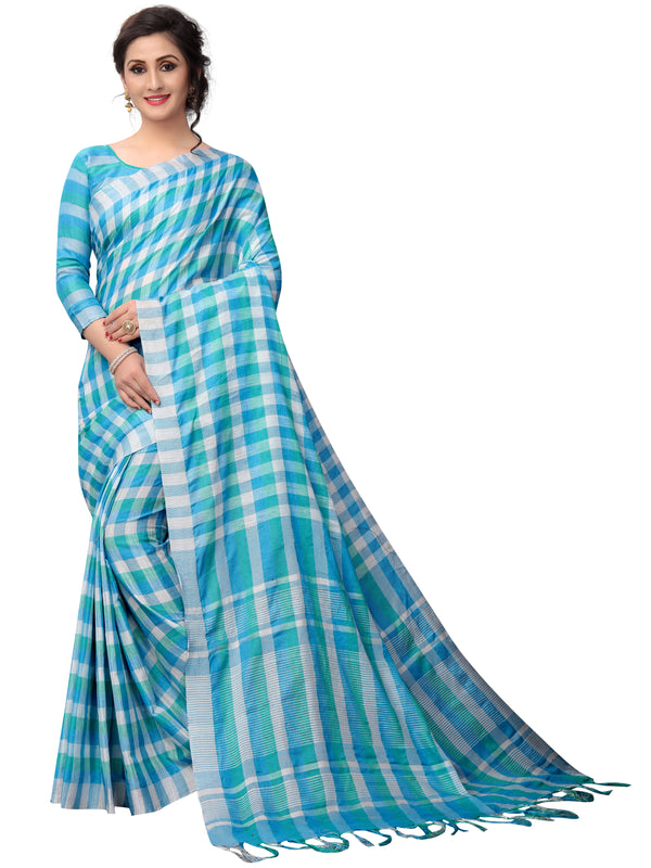 Sensational Sky Blue Pure Linen Designer Saree