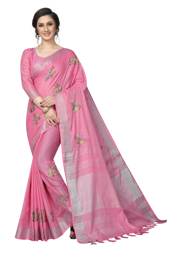 Stupendous Pink Pure Linen With Embroidery Work Designer Saree