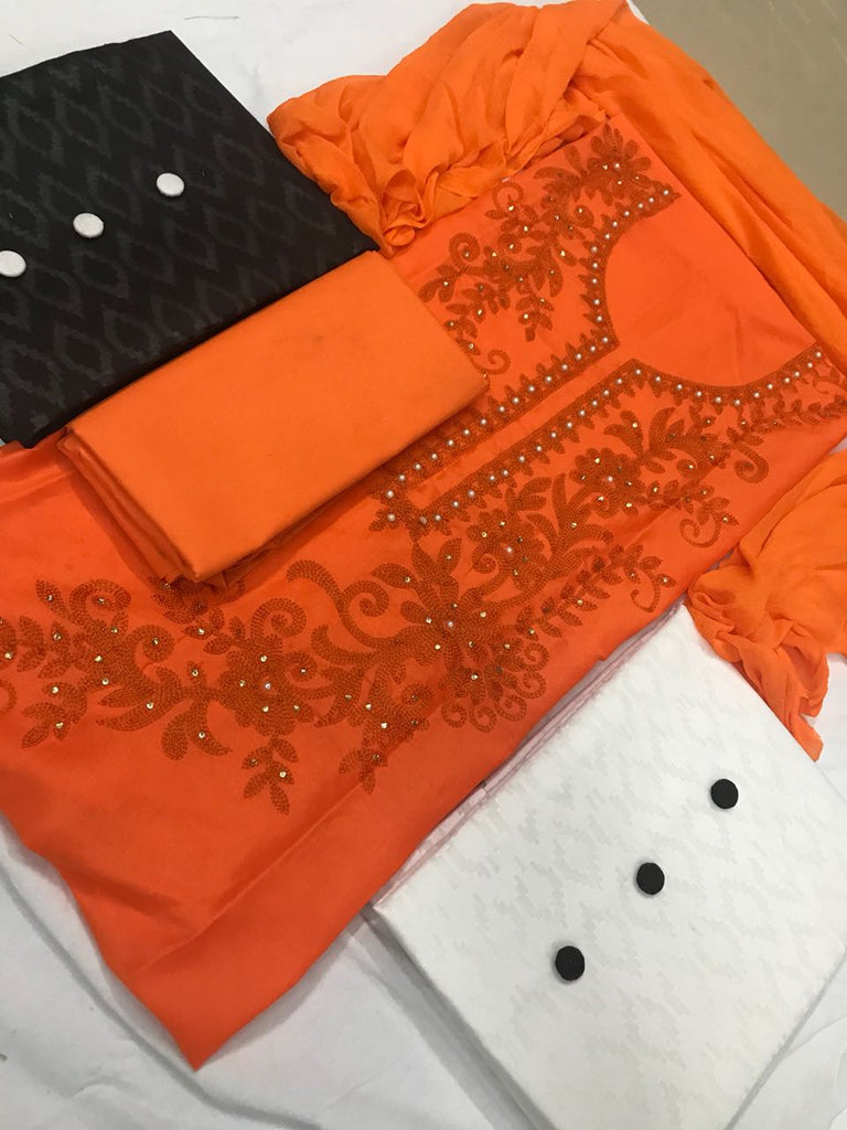 Arresting Color  Orange Cotton With Embroidery Work  3 Combo  Fancy salwar suit