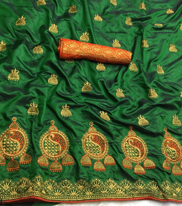 Fabulous Green Designer Sana Silk With Piping Border Embroidered Work Saree