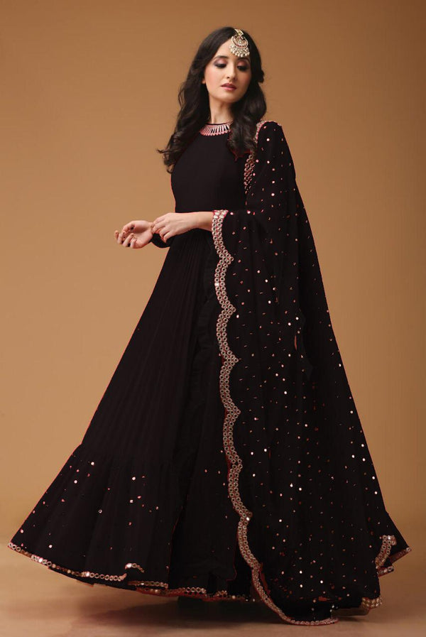 Lovely Black Georgette Foil mirror less Designer Salwar Suit