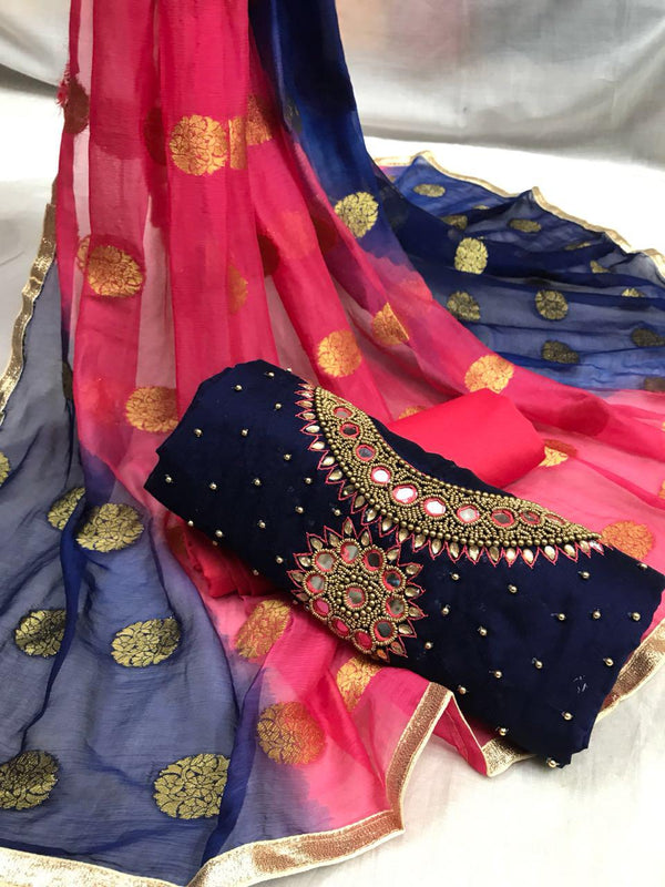 Phenomenal Pink and Navy Blue Embroidery work Salwar suit